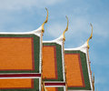 Roof of wat pho temple in bangkok thailand Royalty Free Stock Image