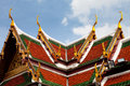 Roof of Wat Phra Kaew Grand Palace Temple, Bangkok Stock Photos