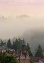Roofed houses scene in the mountain fog vladimir house from vatr vatra dornei city Stock Image