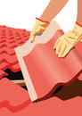 Roofer a vector image of a who puts a tile on a roof roof repairs building Royalty Free Stock Photo