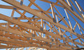 Roofing Construction. Wooden Roof Frame House Construction. Royalty Free Stock Photo