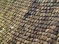 Roofing shingles diagonal view old wooden from Royalty Free Stock Images