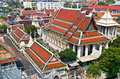 Roofs of bangkok wat arun thailand red temple the dawn aerial view Royalty Free Stock Photography