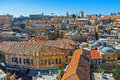 The roofs of the christian quarter old buildings covered with red tile from bell tower lutheran kirche redeemer Royalty Free Stock Photos