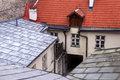 Roofs and courtyard closeup view overlooking the of the old town in tallin in estonia Royalty Free Stock Photo