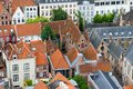 Roofs of Flemish Houses in Brugge Stock Photo