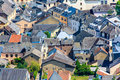 Roofs and houses in old village close up of european Stock Photo