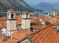 Roofs of Kotor with towers of St Royalty Free Stock Image