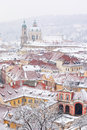 Roofs of ledebursky palace and st nicolas church winter prague Royalty Free Stock Image