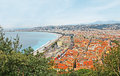 The roofs of nice france february castle hill overlooks old town and coastline on february in Stock Photography