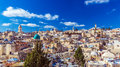 Roofs of old city with holy sepulcher church dome jerusalem israel Royalty Free Stock Photography