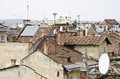 Roofs of the old lvov city urban background ukraine Stock Photos