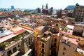 Roofs of old narrow street of european city.  Barcelona Royalty Free Stock Photo