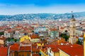 Roofs panorama of nice france city in with beautiful color and church Royalty Free Stock Photography