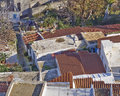 Roofs at plaka athens under acropolis greece house old center Stock Images