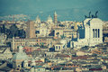 The roofs of Rome, Italy. Mountains of Lazio. Royalty Free Stock Photo