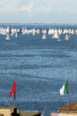 Roofs of Trieste city with the Barcolana regatta Royalty Free Stock Photo
