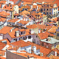 Roofs and white houses view in Alfama district, Lisbon. Portugal Royalty Free Stock Images