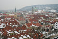 The roofscape of Prague Stock Photos