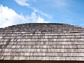 Rooftop made by wooden tiled with blue sky Royalty Free Stock Images