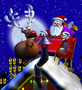 Rooftop santa and sleigh computer generated d cartoon illustration depicting claus on a with a reindeer Royalty Free Stock Photography