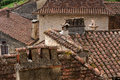 Rooftops in ancient french village details of zigzagging an authentic Stock Photography