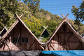 Rooftops bamboo in a minority village leading up to doi inthanon thailand Royalty Free Stock Images