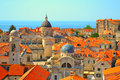 Rooftops in dubrovnik croatia churches domes and orange Stock Images
