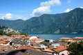 Rooftops lugano switzerland july overlooking lake and alpe trevino the affluent city in switzerland on the shores of lake Stock Photography