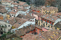 Rooftops of old homes aerial view to roofs many in a district verona italy vintage living picture taken at wintertime Royalty Free Stock Photo