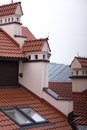 Rooftops red metal old town Stock Photo