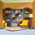 Room with books. House apartment with home library shelves inside of living room for reading vector picture