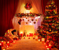 Room Christmas Tree Fireplace Lights, Xmas Home Interior Royalty Free Stock Photo