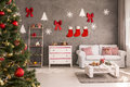 Room With Decorated Christmas ...