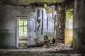 Room dirty ruined and old in a dingy residence Royalty Free Stock Photo