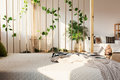 Room divider next to bed Royalty Free Stock Photo