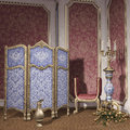Room with a dressing screen vintage candelabra and roses Royalty Free Stock Photos