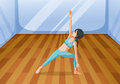A room with a girl performing yoga illustration of Stock Image