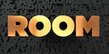 Room - Gold text on black background - 3D rendered royalty free stock picture