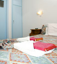 Room in greek island studio apartment for rent Stock Image
