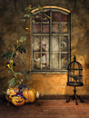 Room with halloween pumpkins candles a cage a raven and window Stock Image