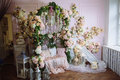 Room interior decorated with flowers. Concept of beautiful photostudio and design Royalty Free Stock Photo