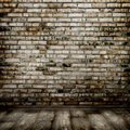 Room interior vintage with brick wall and wood floor background Royalty Free Stock Images