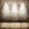 Room interior vintage with brick wall and wood floor background Stock Photos