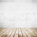 Room interior vintage white brick wall wood floor background Royalty Free Stock Images