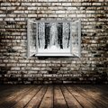Room open window from old with winter forest on a background Royalty Free Stock Photography