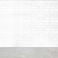 Room perspective, white ceramic tile wall and cement ground Royalty Free Stock Photo