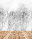 Room perspective - White rough Cement wall and wooden floor ,clean style Royalty Free Stock Photo