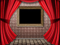 Room with red curtains and frame Royalty Free Stock Image