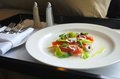 Room service meal of smoked salmon salad ordered as Royalty Free Stock Photo